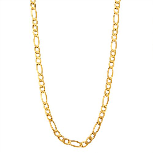 Men's 14k Gold Hollow Figaro Chain Necklace