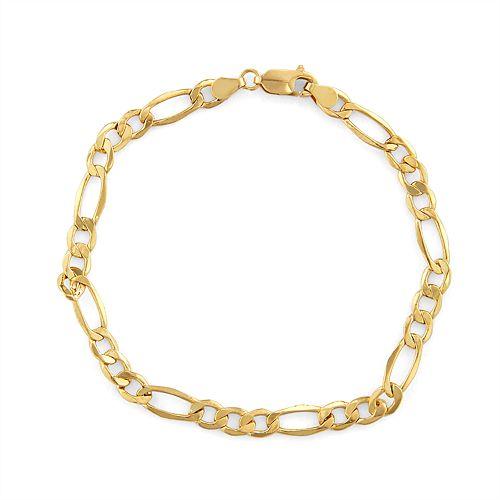 Men's 14k Gold Figaro Chain Bracelet