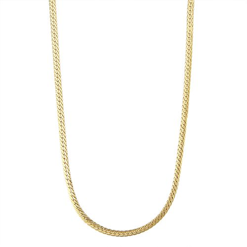 Men's 14k Gold Herringbone Chain Necklace