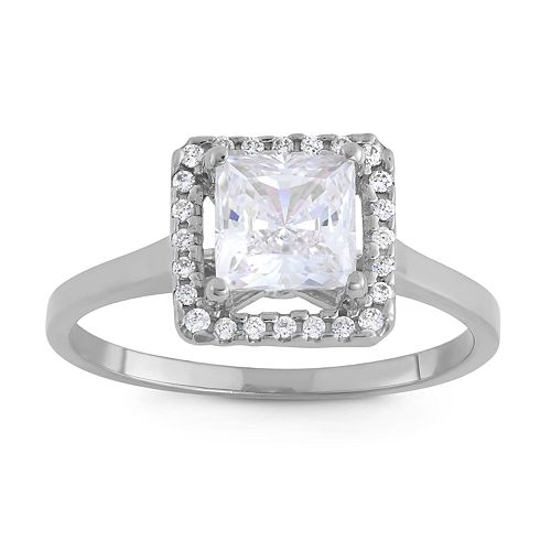 10k Gold Cubic Zirconia Square Halo Ring