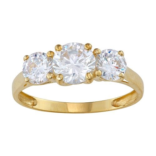 10k Gold Cubic Zirconia 3-Stone Ring