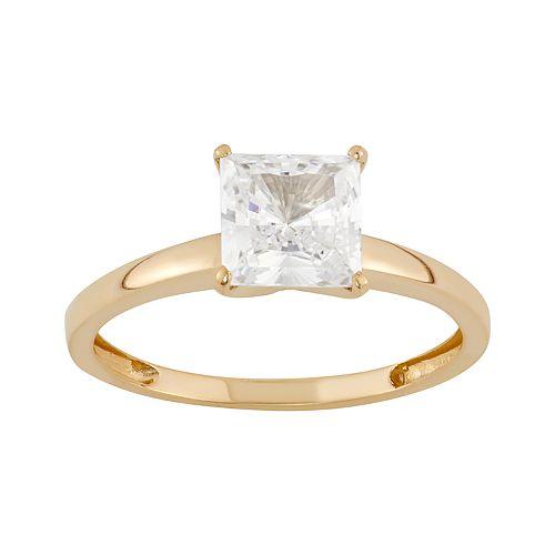 14k Gold 6MM Swarovski Zirconia Solitaire Ring