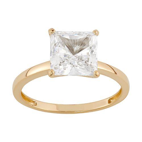 14k Gold 8MM Swarovski Zirconia Solitaire Ring