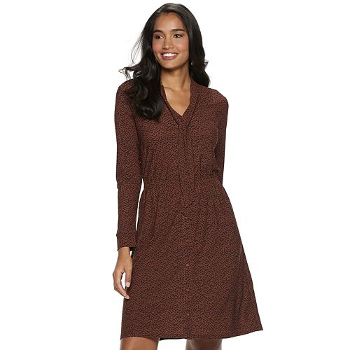 Petite Apt. 9® Tie Neck Shirt Dress