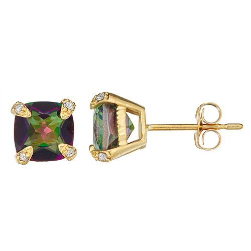 10k Gold Gemstone Diamond Accent Stud Earrings