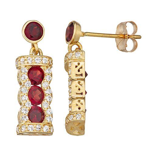 10k Gold Gemstone Dangle Earrings