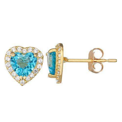 10k Gold Gemstone Heart Halo Stud Earrings