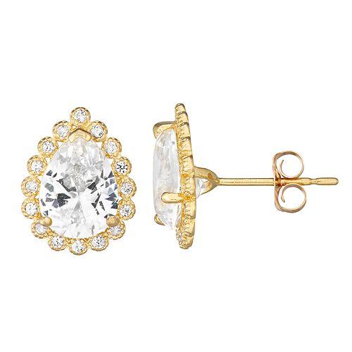 10k Gold Gemstone Teardrop Halo Stud Earrings
