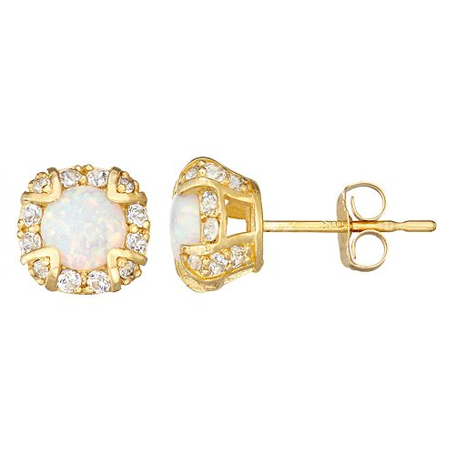 10k Gold Gemstone Round Halo Stud Earrings
