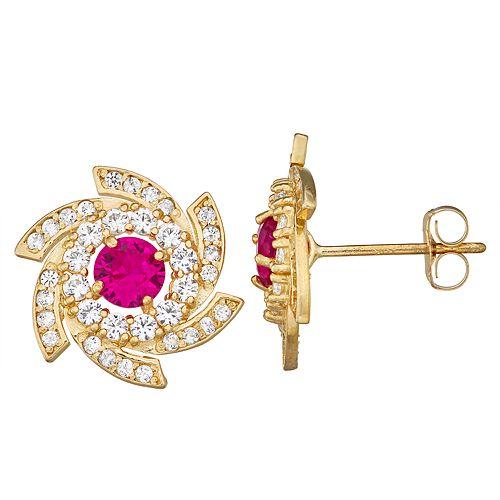 10k Gold Gemstone Swirl Stud Earrings
