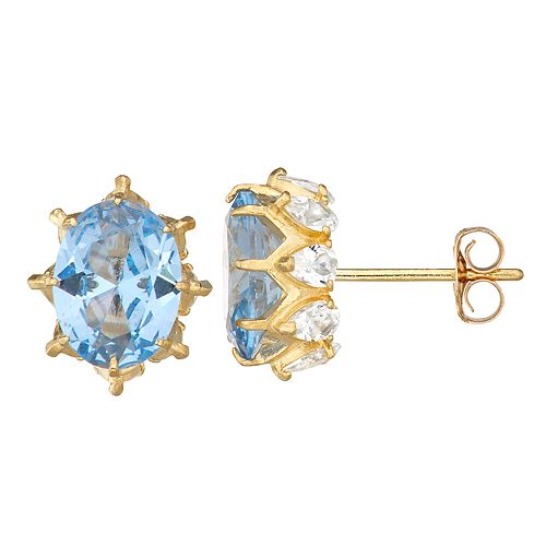 10k Gold Gemstone Oval Crown Stud Earrings