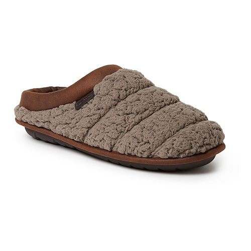 Men's Dearfoams Quilted Clog with Faux Leather Trim