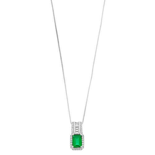 Sterling Silver Simulated Emerald & Lab-Created White Sapphire Pendant Necklace