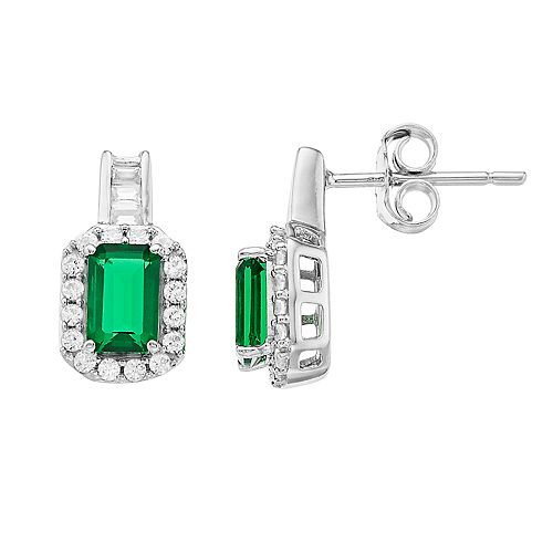 Sterling Silver Simulated Emerald & Lab-Created White Sapphire Earrings