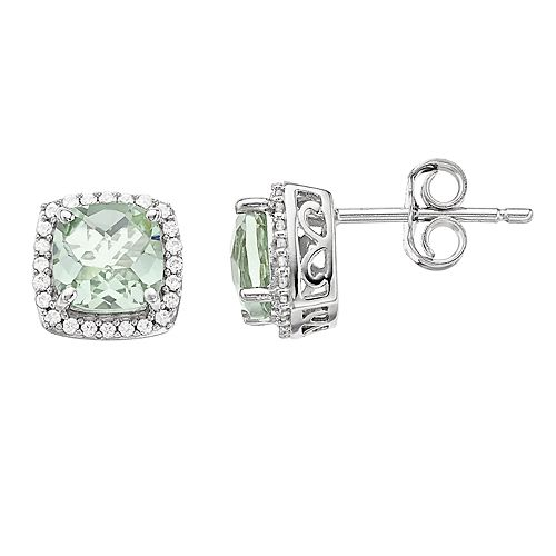 Sterling Silver Green Quartz & Lab-Created White Sapphire Earrings