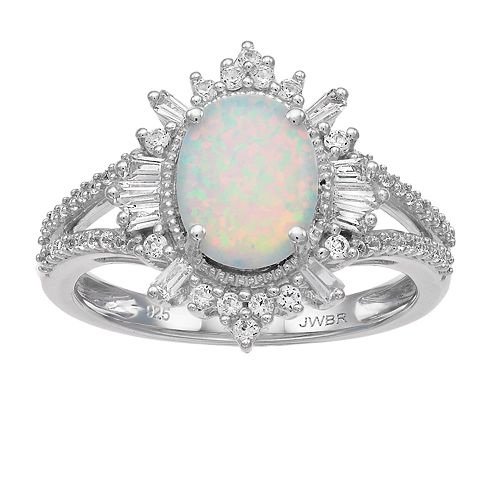 Sterling Silver Lab-Created White Opal & Lab-Created White Sapphire Ring
