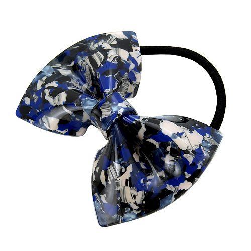 Juniors' Navy Marbled Bow Hair Tie