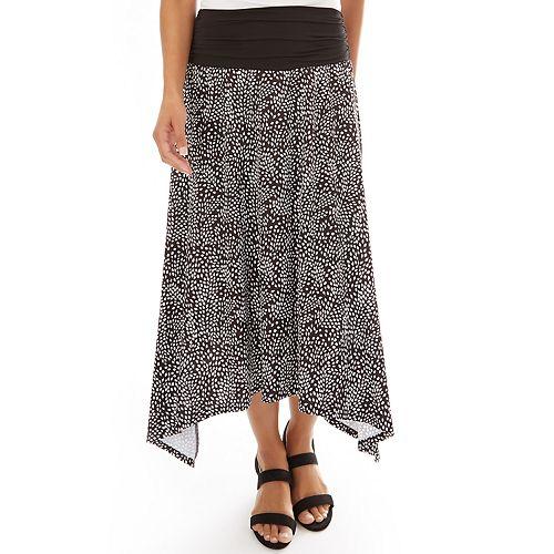 Petite Apt. 9® Dot Print Shark-Bite Hem Skirt