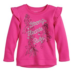 """Disney Princesses Toddler Girl """"Strong Hearts Rule"""" Glitter Graphic Sweatshirt by Jumping Beans®"""