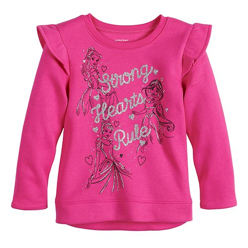 "Disney Princesses Toddler Girl ""Strong Hearts Rule"" Glitter Graphic Sweatshirt by Jumping Beans®"