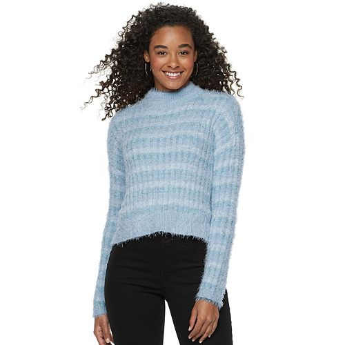 Juniors' Candie's® Ribbed Striped Eyelash Mock Neck Pullover Sweater
