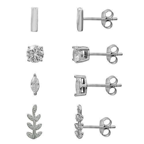 PRIMROSE Sterling Silver Cubic Zirconia Bar & Leaf Stud Earring Set