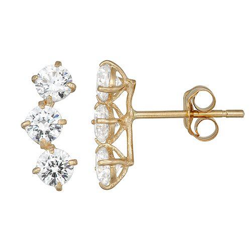 Forever Radiant 10k Gold Crawler Earrings with Swarovski Zirconia