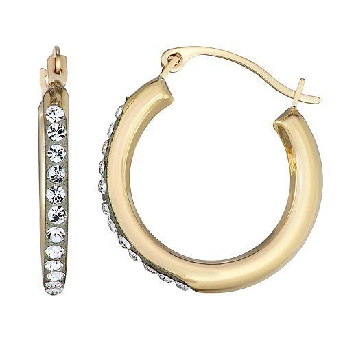 Forever Radiant 10k Gold 18mm Hoop Earrings with Swarovski Crystal
