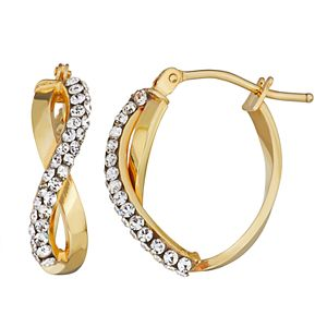 Forever Radiant 10k Gold Infinity Hoop Earring with Swarovski Crystal