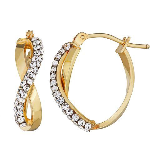 Forever Radiant 10k Gold Infinity Hoop Earring with Swarovski Crystal