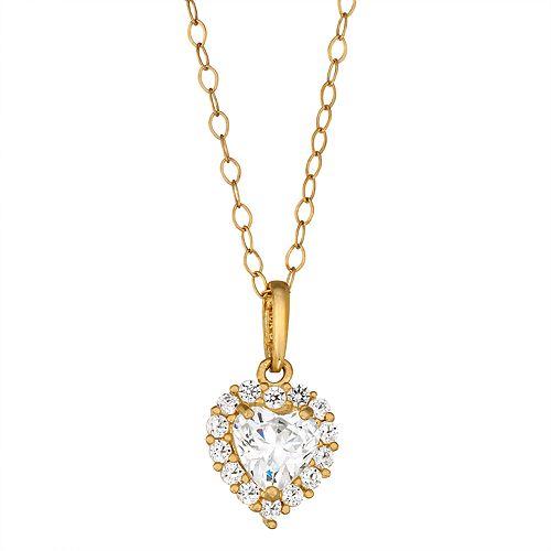 Forever Radiant 10k Gold Heart Pendant Necklace with Swarovski Zirconia