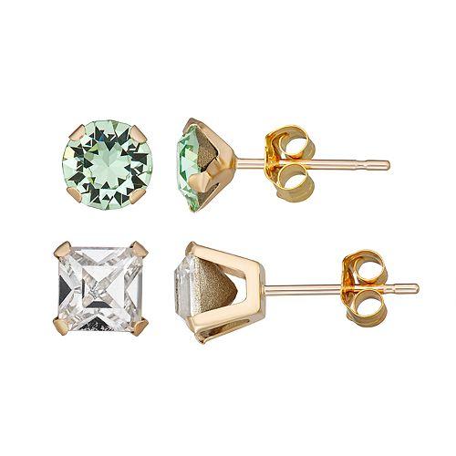 Forever Radiant 10k Gold Earring Set with Swarovski Crystal