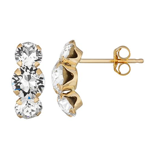 Forever Radiant 10k Gold Drop Earrings with Swarovski Crystal