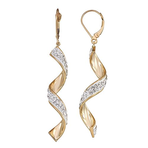 Forever Radiant 10k Gold Corkscrew Earrings with Swarovski Crystal