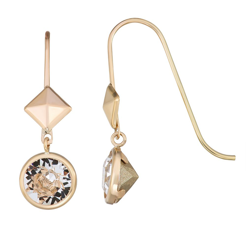 Forever Radiant 10k Gold Pyramid Drop Earrings with Swarovski Crystal