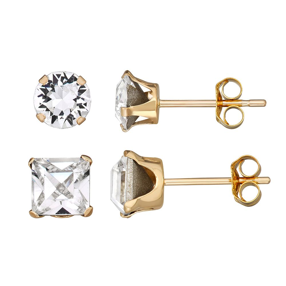 Forever Radiant 10k Gold Round and Square Earring Stud Set with Swarovski Crystal