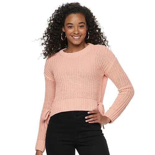 Juniors' Candie's Solid Long Sleeve Hi-Lo Pullover Sweater