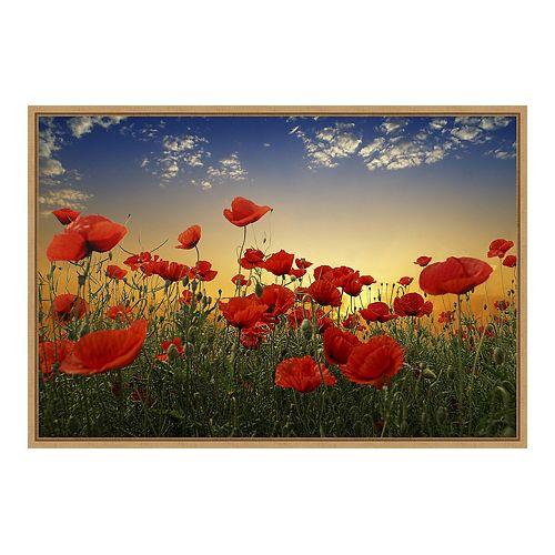 Amanti Art Poppies Framed Canvas Wall Art