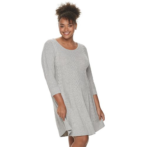 Juniors' Candies® Plus Cable Sweater Dress