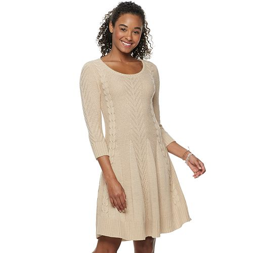 Juniors' Candie's® 3/4 Sleeve Cable Sweater Dress
