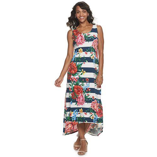 Women's Nina Leonard Printed High-Low Maxi Dress