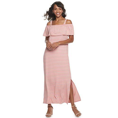 Women's Nina Leonard Popover Knit Striped Maxi Dress With Detachable Straps