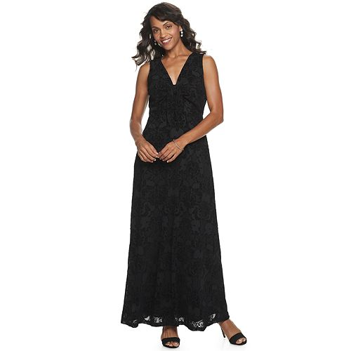 Women's Nina Leonard Sleeveless Flocked Dot Power Mesh Maxi Dress