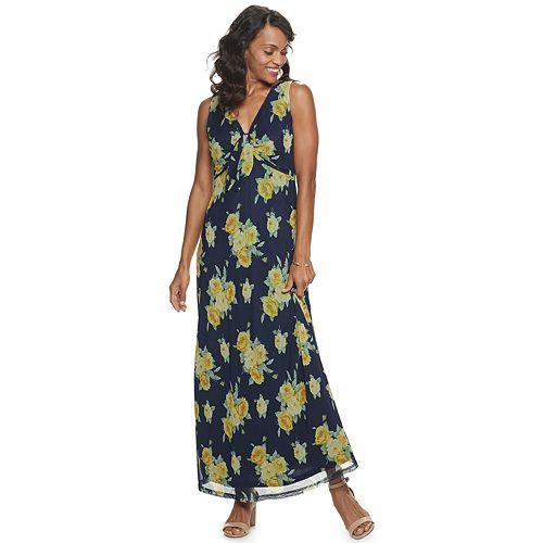 Women's Nina Leonard Sleeveless Printed Power Mesh Maxi Dress