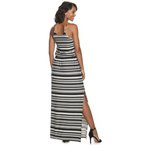 Women's Nina Leonard Striped Halter Neck Spaghetti Strap Maxi Dress