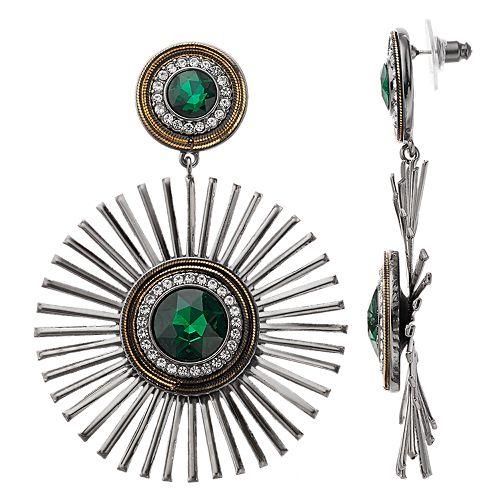 Nine West Green Starburst Drop Earrings