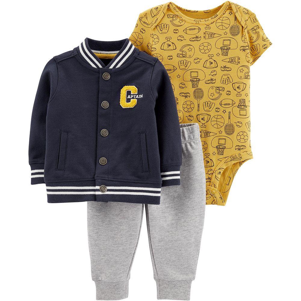 Baby Boy Carter's 3-Piece Varsity Jacket, Bodysuit & Pants Set