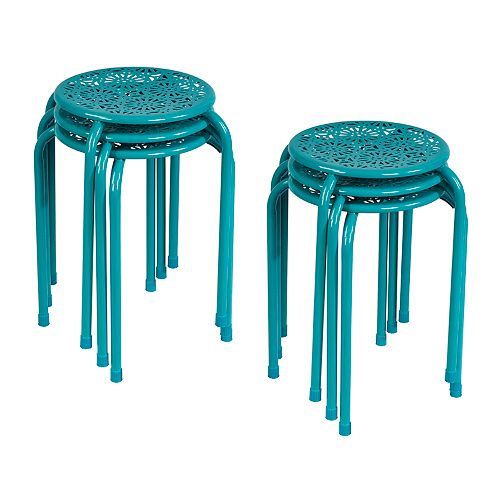 Atlantic Daisy Stackable Stool 6-Piece Set