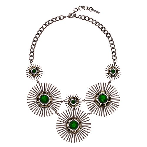 Nine West Green Starburst Statement Necklace