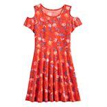 Girls 7-16 SO® Floral Cold-Shoulder Dress